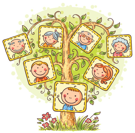 Happy family tree in pictures, little child with his parents and grandparents