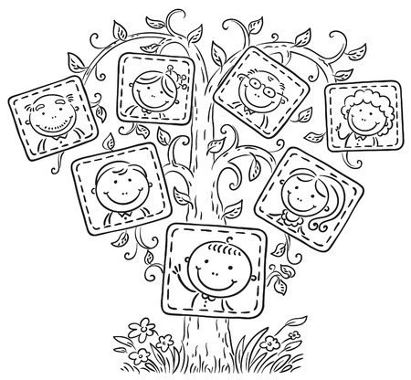 Happy family tree in pictures, black and white outline Ilustração