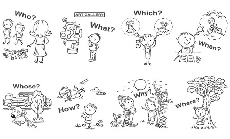 Question words in cartoon pictures, visual aid, black and white outline Illustration