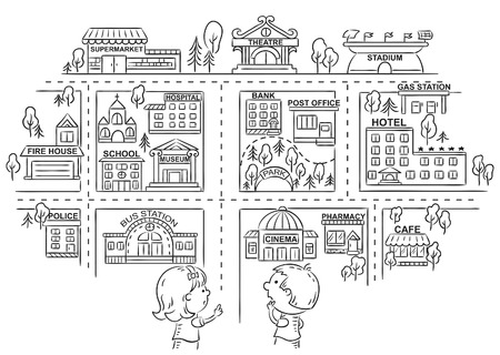 Children asking and telling the way to different city buildings, black and white outline Illustration