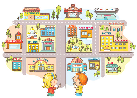 office plan: Children asking and telling the way to different city buildings, colorful cartoon