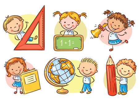 Conjunto de los niños felices de la escuela de dibujos animados con diferentes objetos de la escuela Vectores