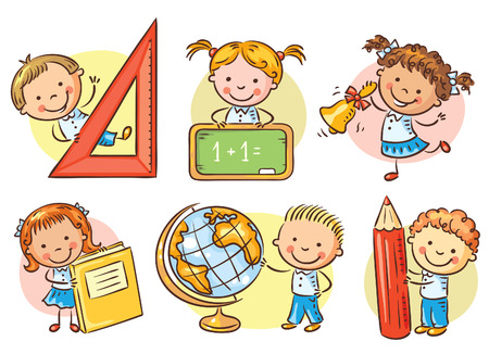 Set of cartoon school happy kids holding different school objects