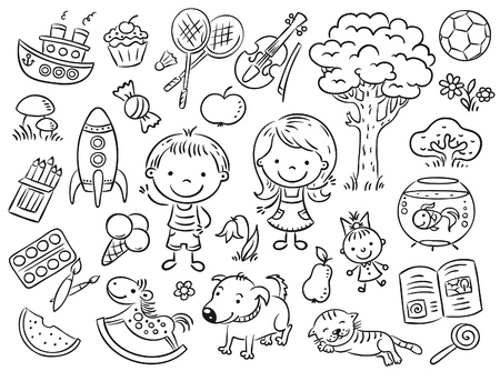 black and white line drawing: Doodle set of objects from a childs life including pets, toys, food, plants and things for sport and creative activities