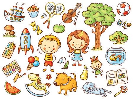 Bunte doodle Satz von Objekten aus dem Leben eines Kindes einschließlich Haustieren, Spielwaren, Lebensmittel, Pflanzen und Dinge für den Sport und kreative Aktivitäten