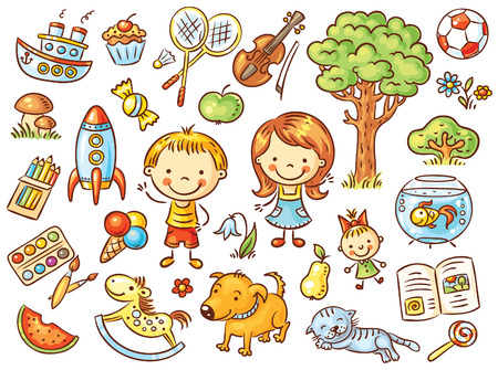 dibujo: Garabato colorido conjunto de objetos de la vida de un niño, incluyendo mascotas, juguetes, alimentos, plantas y cosas para el deporte y las actividades creativas