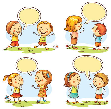 Kids talking and showing different emotions, set of four scenes with speech bubbles