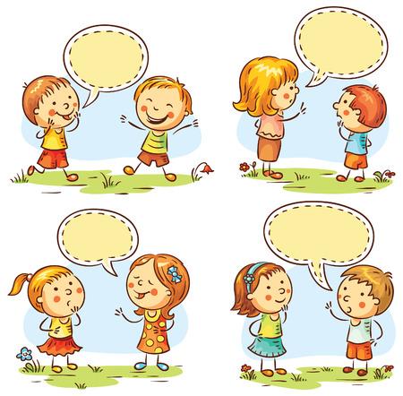 ni�os hablando: Los ni�os que hablan y con distintas emociones, conjunto de cuatro escenas con las burbujas del discurso