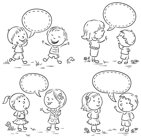 Happy kids talking and showing different emotions, set of four scenes with speech bubbles, black and white outline