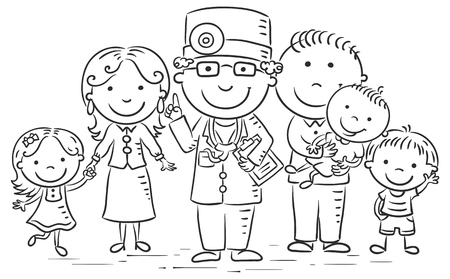 Family doctor with his patients, black and white outline Illustration