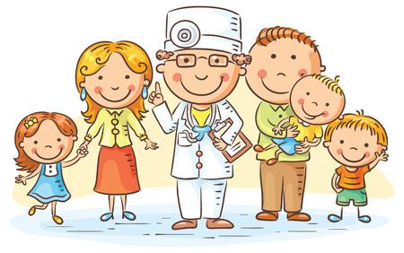 pacjent: Lekarz rodzinny z jego pacjentów, rodzicami i trójką dzieci