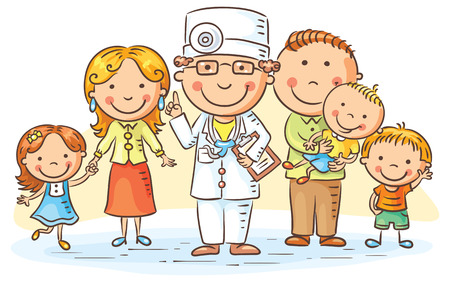 pacientes: médico de familia con sus pacientes, padres y tres niños Vectores