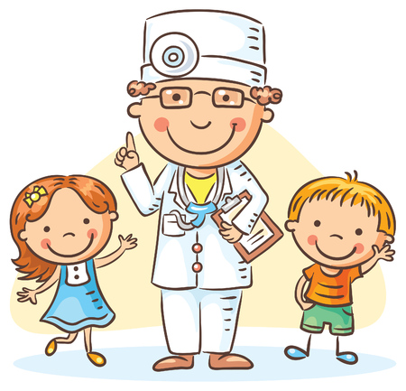 boy doctor: Cartoon doctor with happy little children, a boy and a girl, no gradients Illustration