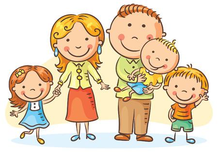 Happy family with three children, no gradients Stock Illustratie