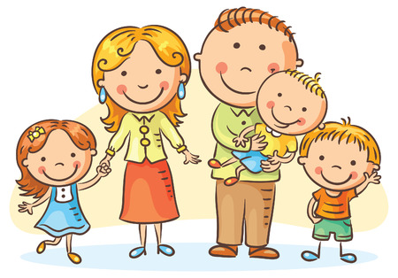 dad daughter: Happy family with three children, no gradients Illustration