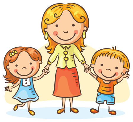 sisters: Happy cartoon mother with two children, a boy and a girl, no gradients