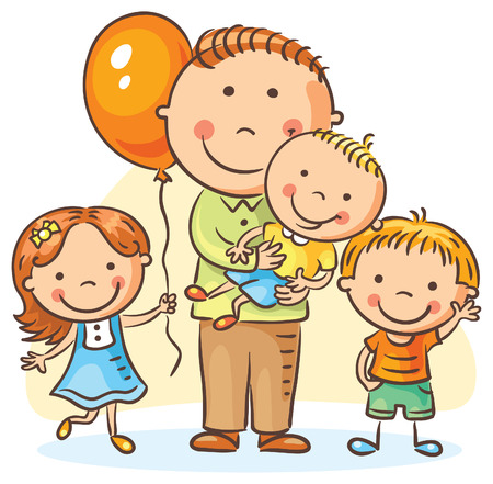three children: Happy cartoon father with three children, no gradients