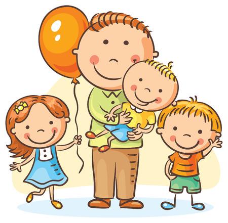 three children: Happy cartoon father with three children, no gradients