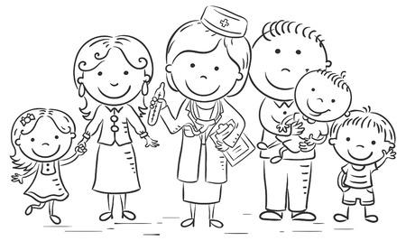 fila de personas: médico de familia con sus pacientes, esquema en blanco y negro
