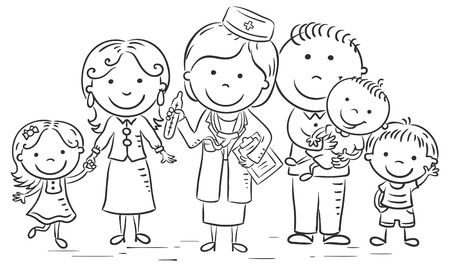 Family doctor with her patients, black and white outline Illustration
