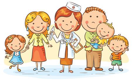 pacientes: m�dico de familia con sus pacientes, padres y tres ni�os Vectores