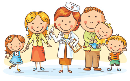 Family doctor with her patients, parents and three kids