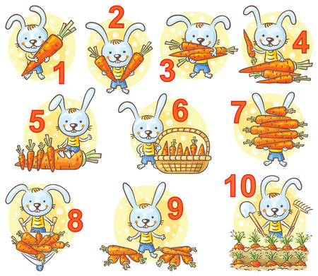 Numbers in pictures set, rabbit and his carrots, colorful cartoon Vettoriali