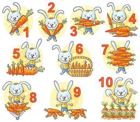 numero uno: Los números en imágenes ajustadas, conejo y sus zanahorias, historieta colorida