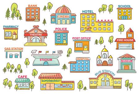 case colorate: Insieme di semplici cartoni animati colorati edifici della città con i segni