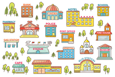 Set of simple colorful cartoon city buildings with signs Illustration