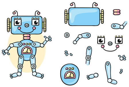 Robot body parts for kids to put together, no gradients