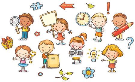 preescolar: Conjunto de niños de dibujos animados la celebración de diferentes objetos, vector