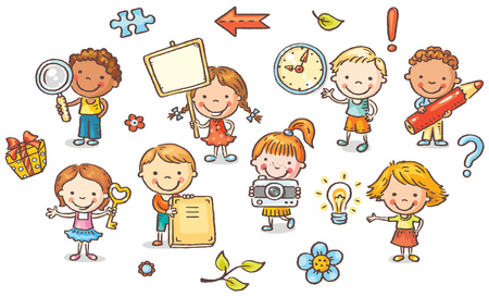 cartoon clock: Set of cartoon kids holding different objects, vector