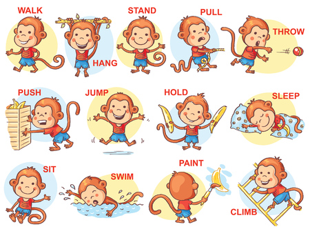 Conjunto de niños de dibujos animados la celebración de diferentes objetos, vector Foto de archivo - 50850004