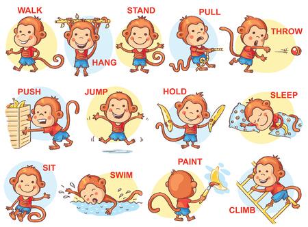 cartoon school girl: Set of cartoon kids holding different objects, vector
