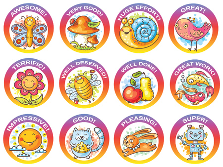 encouraging: Set of cartoon stickers for encouraging students, vector