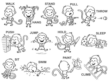 Verbs of action in pictures, cute happy monkey character, black and white outline