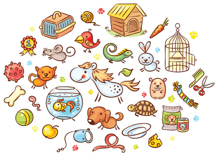Set of colorful cartoon pet animals with accessories, toys and food, vector