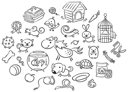 Set of black and white cartoon pet animals with accessories, toys and food Illustration
