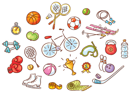 Set of colorful cartoon sport Things, vector Ilustração