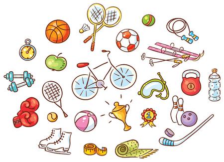 Zestaw kolorowych kreskówek sportowych rzeczy, wektor