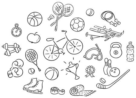 Set of cartoon sport Things, black and white outline Illustration
