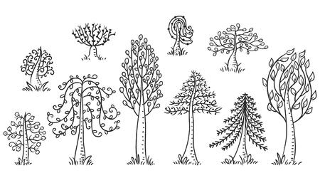 Hand drawn ensemble des arbres, noir et contour blanc