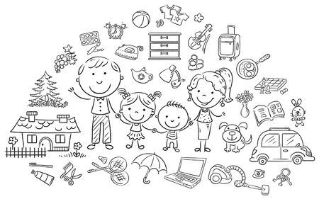 happy family house: Family life set, black and white outline
