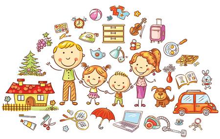 家庭生活と家庭のセット、カラフルな漫画