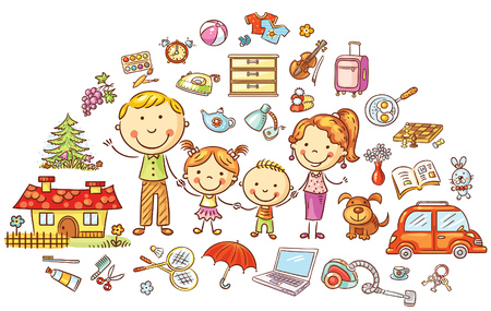 Family life and household set, colorful cartoon