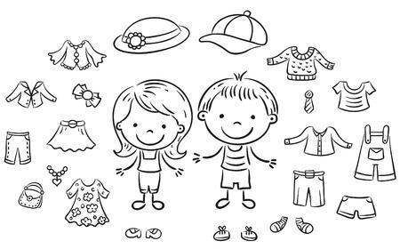 ropa de verano: ropa de verano fijados para un niño y una niña, esquema blanco y negro Vectores