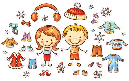 Winterkleidung für einen Jungen und ein Mädchen gesetzt, können Einzelteile bunten Cartoon anziehen, werden