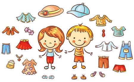 ropa de verano: ropa de verano establecidos para un niño y una niña, los artículos se pueden poner en, colorido de la historieta