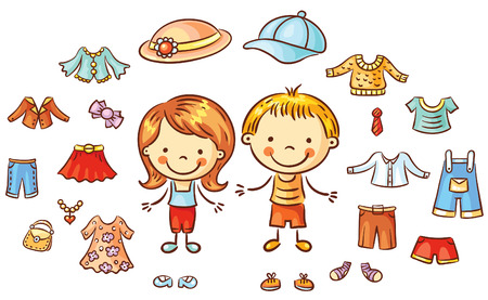 t shirt blouse: Summer clothes set for a boy and a girl, items can be put on, colorful cartoon Illustration